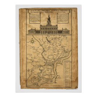 Map of Philadelphia and Parts Adjacent 1752 Poster