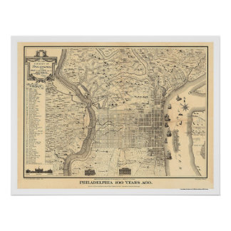 Map of Philadelphia as it was in 1776 by Varte Poster
