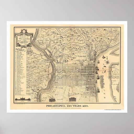 Map Of Philadelphia As It Was In 1776 By Varte Poster  Zazzle