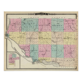 Map of Pierce County and Ellsworth Poster