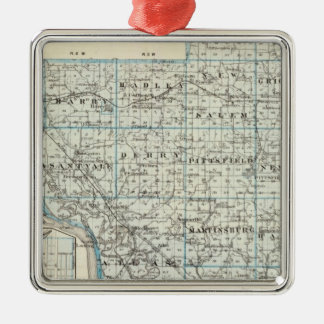 Map of Pike County and Pittsfield Metal Ornament