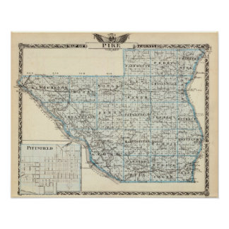 Map of Pike County and Pittsfield Poster