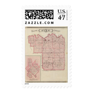 Map of Pike County with Plan of Petersburg Postage