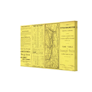 Map of Pittsburgh and Western Railway Canvas Print
