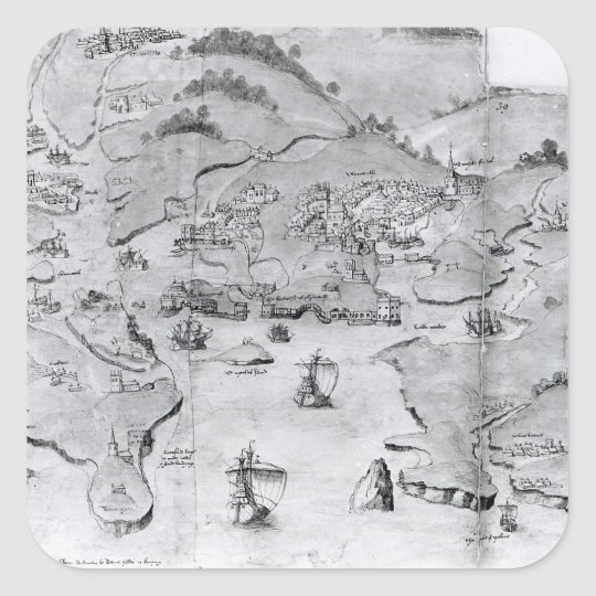 Map of Plymouth, c.1539 Square Sticker