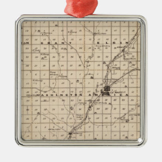 Map of Plymouth County Square Metal Christmas Ornament