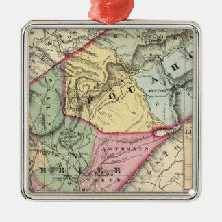 Map of Pocohontas, Greenbrier counties Metal Ornament