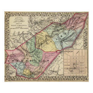 Map of Pocohontas, Greenbrier counties Poster