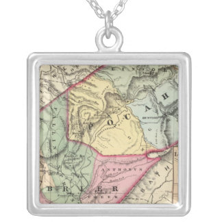 Map of Pocohontas, Greenbrier counties Silver Plated Necklace