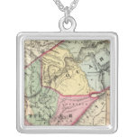 Map of Pocohontas, Greenbrier counties Square Pendant Necklace