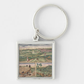 Map of Poitiers, from 'Civitates Orbis Terrarum' b Silver-Colored Square Keychain