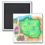 Map of Poland 2 Inch Square Magnet