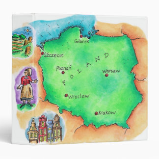 Map of Poland 3 Ring Binder