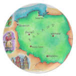 Map of Poland Dinner Plate