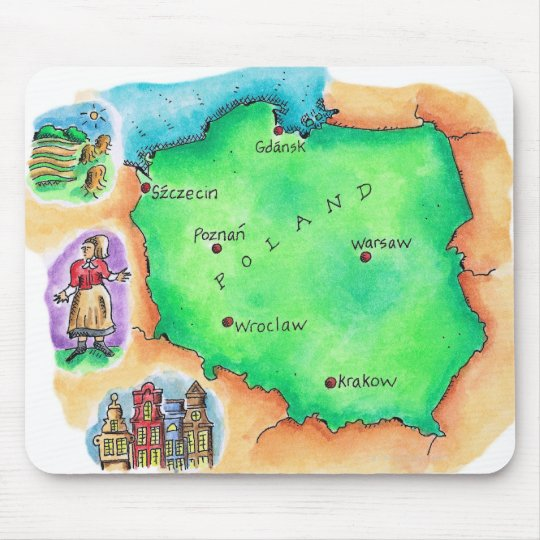 Map of Poland Mouse Pad