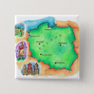 Map of Poland Pinback Button
