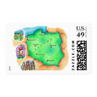 Map of Poland Postage Stamp