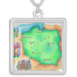 Map of Poland Square Pendant Necklace