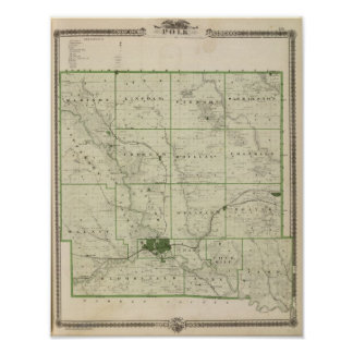 Map of Polk County, State of Iowa Poster