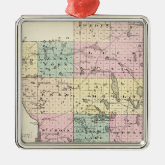 Map of Polk County, State of Wisconsin Metal Ornament