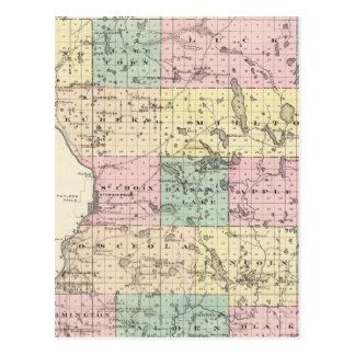 Map of Polk County State of Wisconsin Post Card