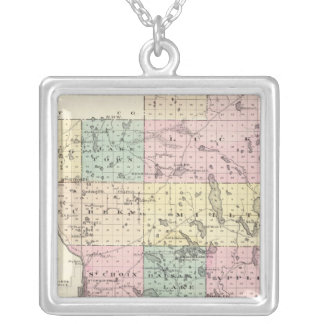Map of Polk County, State of Wisconsin Silver Plated Necklace