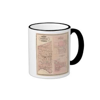 Map of Porter County with Chesterton, Hebron Ringer Coffee Mug