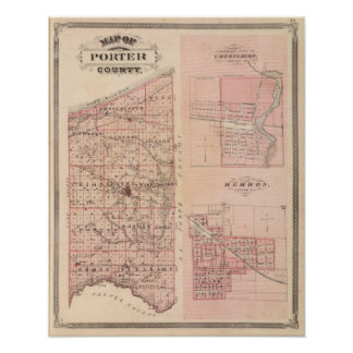 Map of Porter County with Chesterton, Hebron Poster