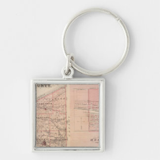 Map of Porter County with Chesterton, Hebron Silver-Colored Square Keychain