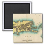 Map Of Porto Rico And The Virgin Islands 2 Inch Square Magnet