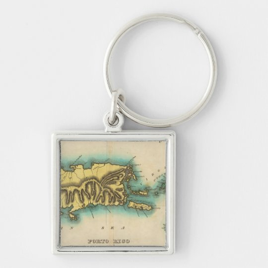Map Of Porto Rico And The Virgin Islands Keychain