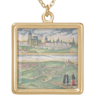 Map of Prague, from 'Civitates Orbis Terrarum' by Square Pendant Necklace
