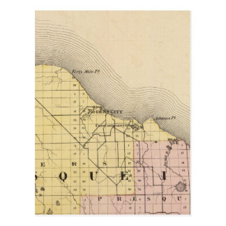 Map of Presque Isle County, Michigan Postcard