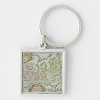 Map of Provinces in China Silver-Colored Square Keychain