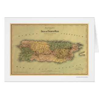 Map of Puerto Rico by Colton 1886 Greeting Cards