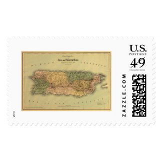 Map of Puerto Rico by Colton 1886 Stamps