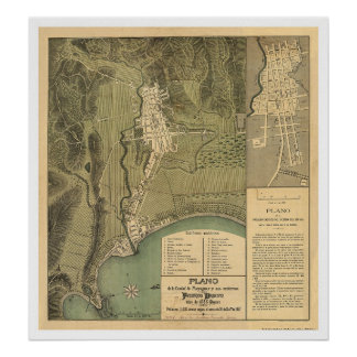Map of Puerto Rico by Federico Drouyn 1888 Poster