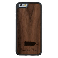 Map of Puerto Rico: Classic Design Carved® Walnut iPhone 6 Bumper Case