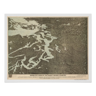 Map of Puget Sound Country in Washington 1891 Poster