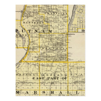 Map of Putnam and east part of Marshall counties Postcard