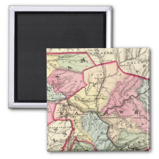 Map of Putnam, Kanawha, Boone counties 2 Inch Square Magnet