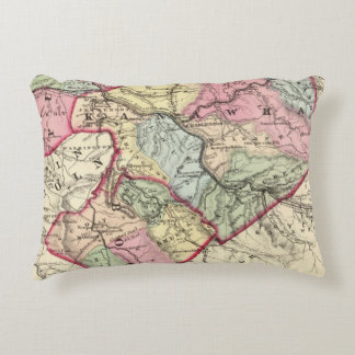 Map of Putnam, Kanawha, Boone counties Accent Pillow