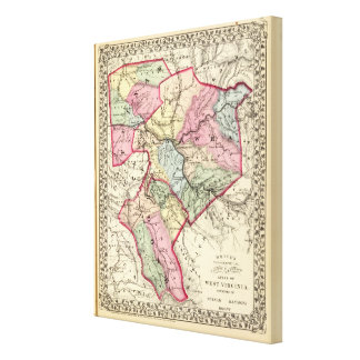 Map of Putnam Kanawha Boone counties Gallery Wrap Canvas