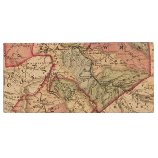 Map of Putnam, Kanawha, Boone counties Wood USB 2.0 Flash Drive