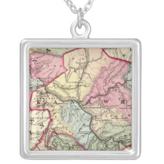 Map of Putnam, Kanawha, Boone counties Square Pendant Necklace