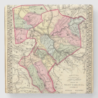 Map of Putnam, Kanawha, Boone counties Stone Coaster
