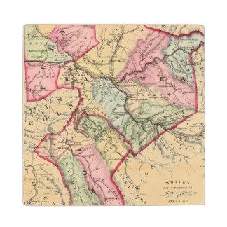 Map of Putnam, Kanawha, Boone counties Wood Coaster