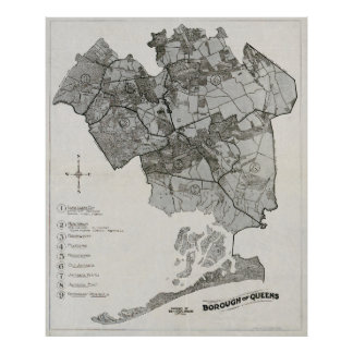 MAP of QUEENS 1918 Posters