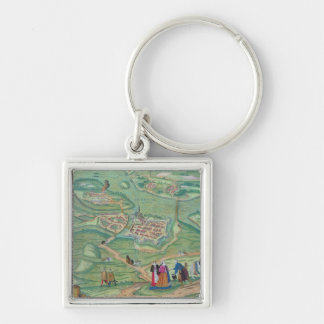 Map of Raab, from 'Civitates Orbis Terrarum' by Ge Silver-Colored Square Keychain