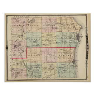 Map of Racine and Kenosha counties Poster
